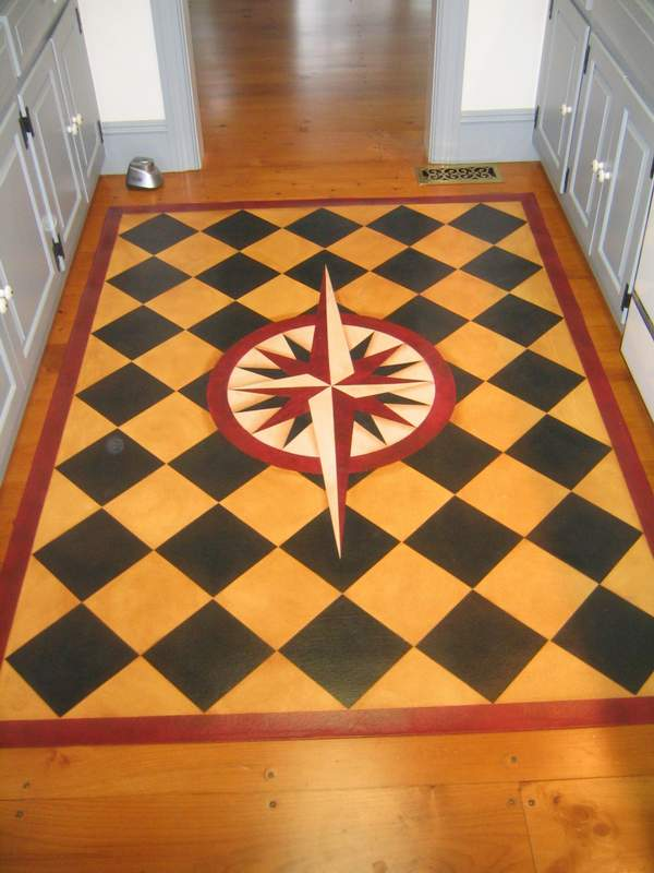 Mariners Compass With Diamonds Floorcloth Design Village Floorcloths