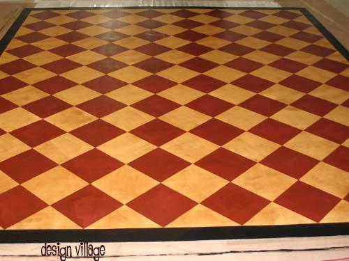 18th Century Diamond Pattern Floorcloth Design Village