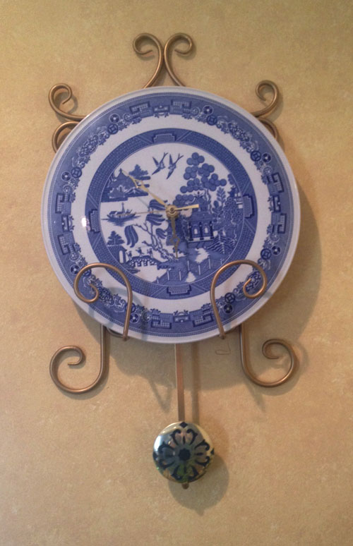 Coordinating Blue Willow wall clock