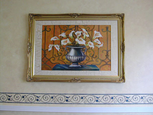 coordinated painting with wrought iron grill