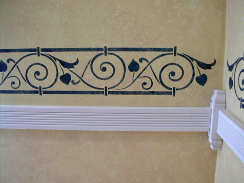 Stenciled scroll border