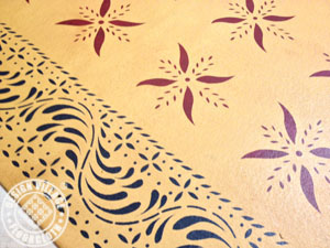 Close up picture of Rosedale Floorcloth. Click here to view our historic collection.