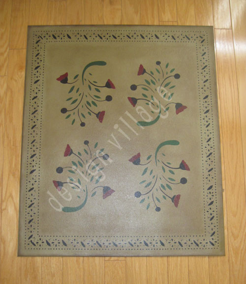 Early American Flowers Floorcloth for TNA Auction