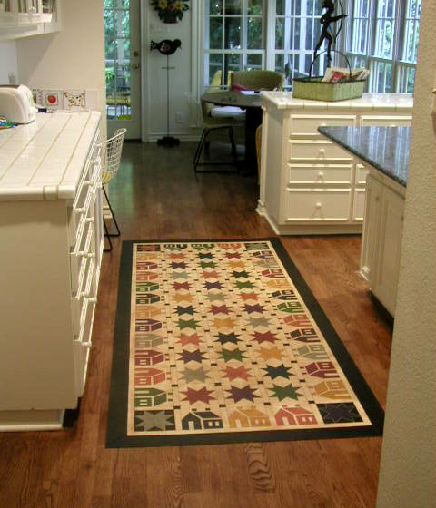 House and Star floorcloth