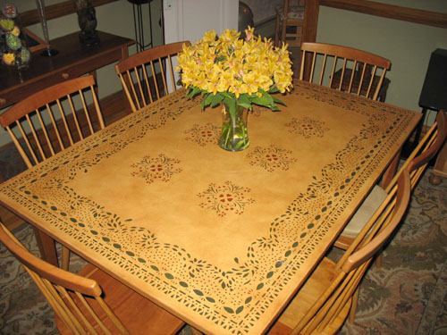 Floorcloth on Dining Table