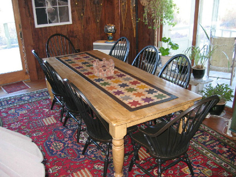 Star Quilt Floorcloth on Table