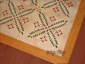 Colonial Flower Floorcloth 2- Pearl