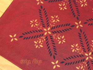 Colonial Flower Floorcloth 1- Red