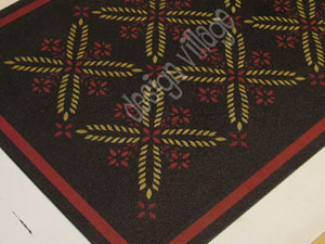 Colonial Flower Floorcloth in Black
