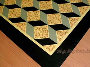 Tumbling Blocks Floorcloth