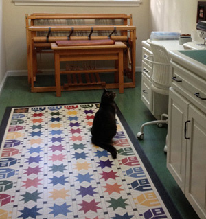 cat on the craftroom floorcloth