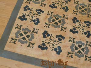 Baltimore Quilt Floorcloth :: Amish Blue