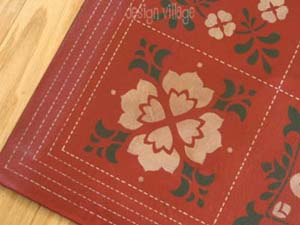 Baltimore Sampler Quilt Floorcloth :: Red